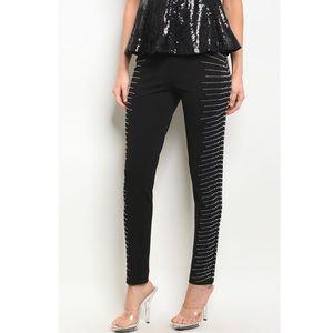Black Embellished Skinny Pants